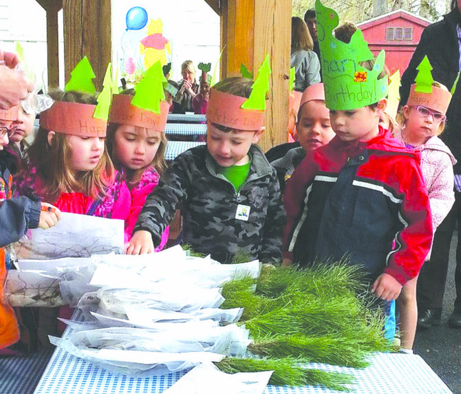 Preschool children at Creative Environment Day School in Fayetteville each got to take home a seedling to plant on Arbor Day.