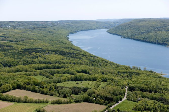 An aerial view of Skaneateles Lake. The Finger Lakes Land Trust has announced a project to conserve the southern half of the lake and surrounding areas.