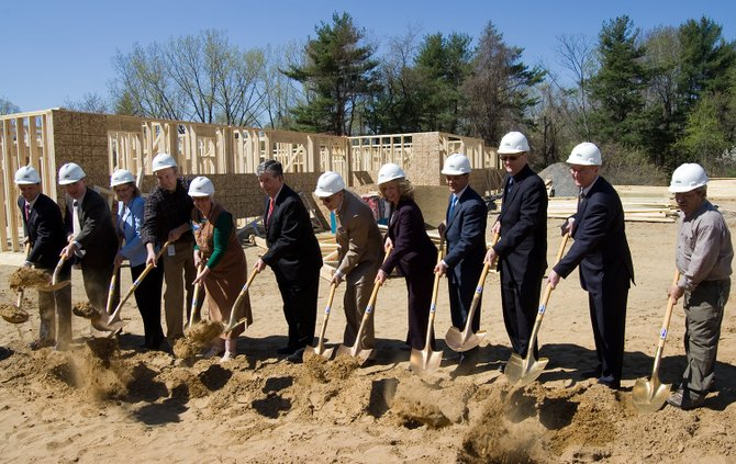"Living Resources representatives, local elected officials and community leaders symbolically break ground on Wednesday, May 1, on the nonprofits ""smart house,"" which is designed for people with developmental disabilities."
