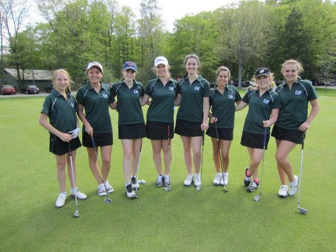 The Fayetteville-Manlius girls golf team of (from left) Sally Trop, Allison Donella, Mackenzie Kingsley, Natalie Powers, Erin Egnaczak, Alexandra Millimaci, Kristen Gamble and Annie Caputo shot a team score of 178 in last Tuesday's win over Oswego, just two shots off a single-match team record set in 2011.