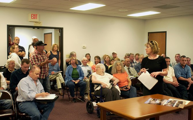 There was standing room only at the Tuesday, May 7, New Scotland Planning Board meeting, with a proposed 12-lot subdivision drawing a majority of residents.