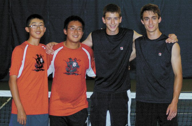The Guilderland boys tennis team is sending both of its doubles teams to the state tournament after they both reached the Section II finals. The players are, from left, Bill Dong, Michael Zhu, Alex Fedorov and Erick Kopff.