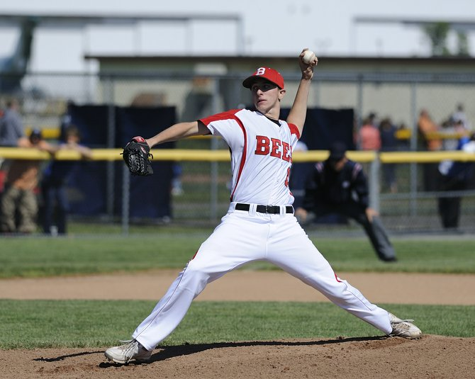 Baldwinsville senior pitcher Colin Conklin (15) worked 6 2/3 innings in Monday's Section III Class AA final at Rome's DeLutis Field and picked up the victory as the Bees defeated Oswego 3-1 and earned back-to-back sectional titles for the first time in school history.