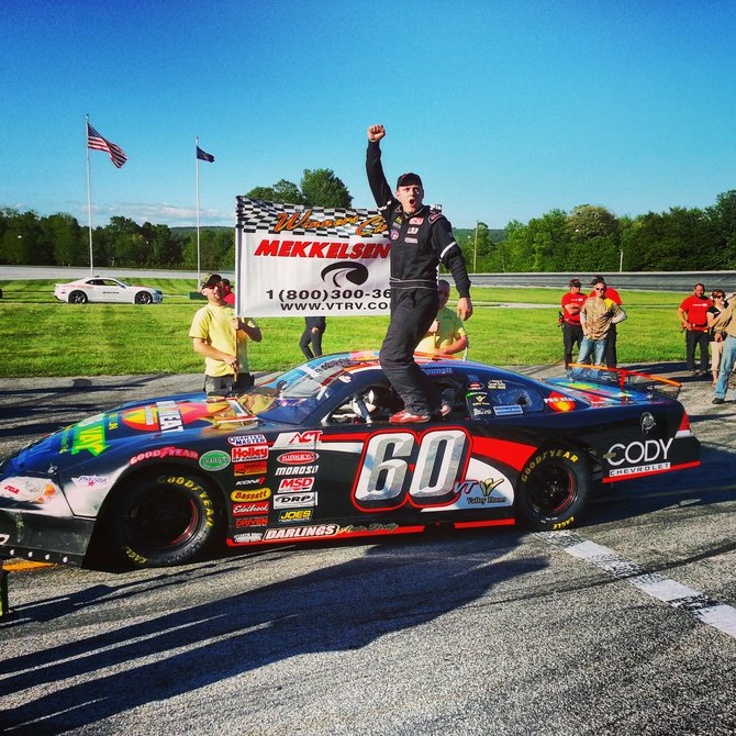 North Haverhill's Derrick O'Donnell celebrates in victory lane after his first Late Model victory at Thunder Road in the Mekkelsen RV Memorial Day Classic on Monday, May 27.  (Photo Credit: ACT)