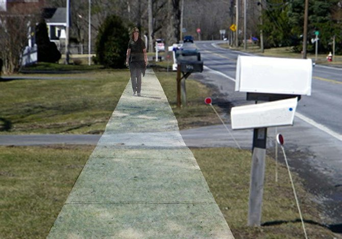 This photo simulation shows how sidewalks could be installed along Route 146 in Guilderland Center. The Town Board recently hired Creighton Manning Engineering to design the sidewalk project.