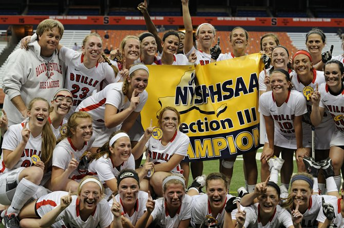 Baldwinsville's girls lacrosse team celebrates its first Section III Class A championship in 13 years, earned Tuesday night at the Carrier Dome when it beat Cicero-North Syracuse 13-10. The last time the Bees won a sectional title, in 2000, it went on to win the only state championship in program history.