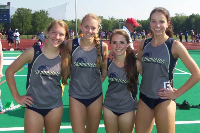 The Skaneateles girls track and field 4x100 relay team of (from left) Amanda Wetmore, Katelyn Ellison, Laurel Parker and Taylor Woodruff won their race in Thursday's Section III state qualifier at Cicero-North Syracuse in a time of 50.91 seconds, breaking a school record and advancing to next weekend's state meet at Middletown High School.