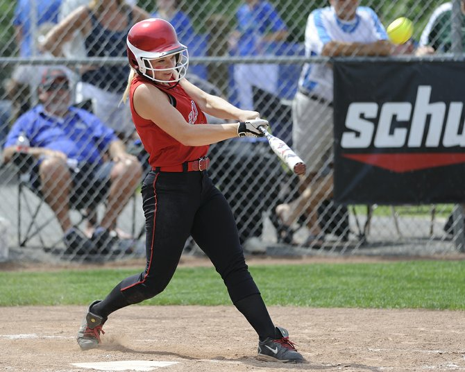 Jamesville-DeWitt's Kerri Keeler delivers a solo home run in the fourth inning of Saturday's Section III Class A final at Syracuse University. That drive, plus a two-run shot from Alyssa Robens, was enough for the Red Rams to beat the Indians 3-0 and repeat as sectional champions.