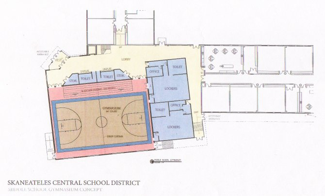 A concept drawing of what the proposed new middle school gym would look like. The building would feature a bigger court, more room for seating, new public bathrooms and new entrances from the outside that would also be handicap accessible. The building is projected to cost $5.48 million of the proposed $22.7 million capital improvements project.