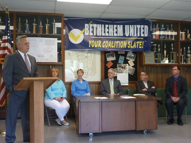 """Republican endorsed candidates for the Town of Bethlehem's November election have banded together under the multi-party coalition """"Bethlehem United."""" Candidates include Fred Di Maggio for Supervisor, Linda Jasinski and Dan Cunningham for town board, Terry Ritz for superintendent of highways, Melanie Calzone for town clerk and Dale Desnoyers for town justice."""