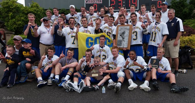 The Cazenovia boys lacrosse team won its second state Class C championship in the last three years on Saturday at St. John Fisher College, near Rochester, where it rallied from a four-goal deficit to defeat Bronxville 13-11 in the title game.