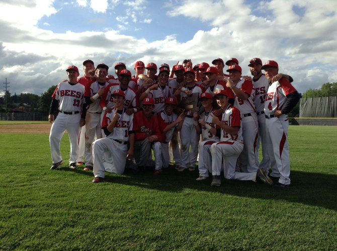 Baldwinsville's baseball team celebrates with the state Class AA championship trophy after the Bees defeated Clarence, 4-1, in last Saturday's state final at SUNY-Binghamton. It is the first state championship won by any male sports team at the school.