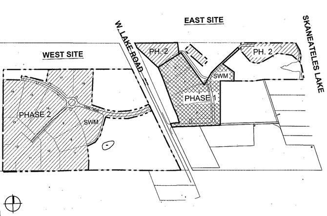 A map showing the lot placements and phases of construction for the proposed 18-house Loveless Farm subdivision on West Lake Road in Skaneateles.