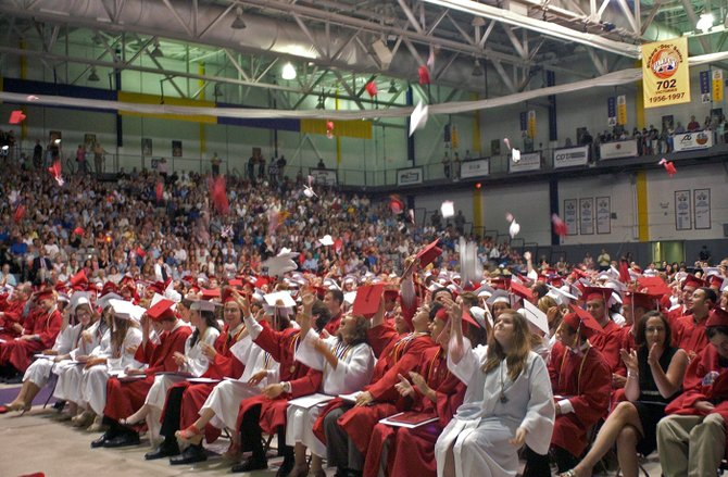 The Guilderland Class of 2013 celebrates graduating from high school during graduation ceremony at the University at Albany's SEFCU Arena on Saturday, June 22.