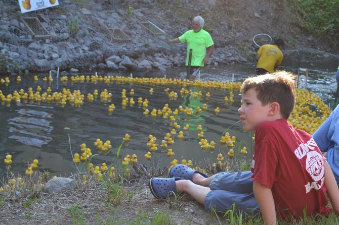 Aidan Singer, 8, of Arlington, Va., watches the ducks reach the finish line while volunteers in the water collect the ducks that have already finished at the Duck Dash on July 19 in Skaneateles. Aidan was in town visiting family.