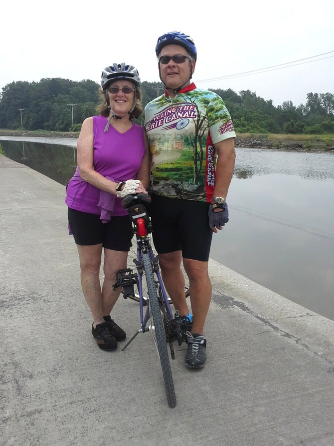 Bethlehem Republican Supervisor hopeful Fred DiMaggio and his wife, Shelia, along the Erie Canal.