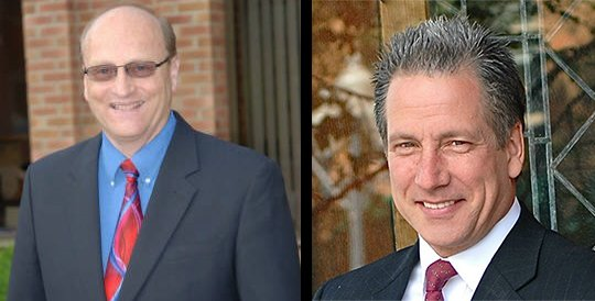 Guilderland Democratic incumbent town supervisor Ken Runion, left, and Republican supervisor candidate Mark Grimm, right.