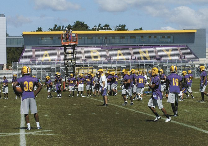 The University at Albany football team held its first practice for the 2013 season Monday in the shadow of Bob Ford Field. The Great Danes inaugurate their new home Saturday, Sept. 14 against Rhode Island.