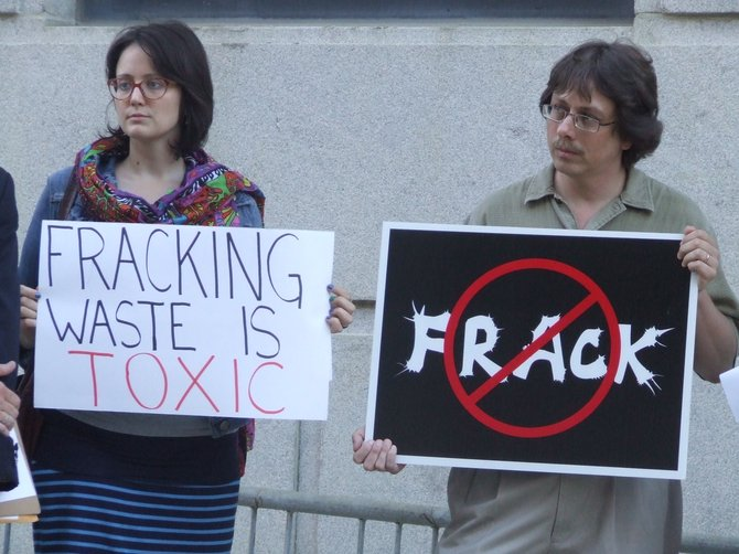 Lawmakers and local and statewide activists stood outside of the Albany County Courthouse last Tuesday voicing their concerns about keeping hydrofracking waste off the streets of Albany County.