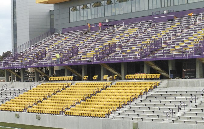 Most of the 8,500 seats are in place at Bob Ford Field, the new home of the University at Albany's football and soccer teams. The stadium opens Saturday, Sept. 14, when UAlbany hosts Rhode Island in a football game.