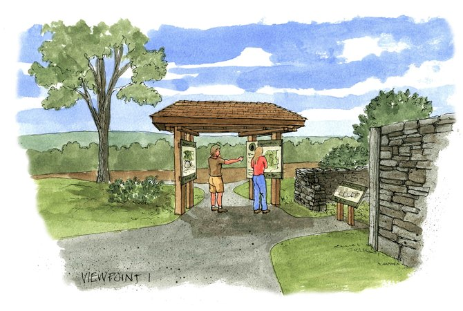 A rendering done by artist Robert McNamara of the planned trail-head for the new nature preserve in Spafford.