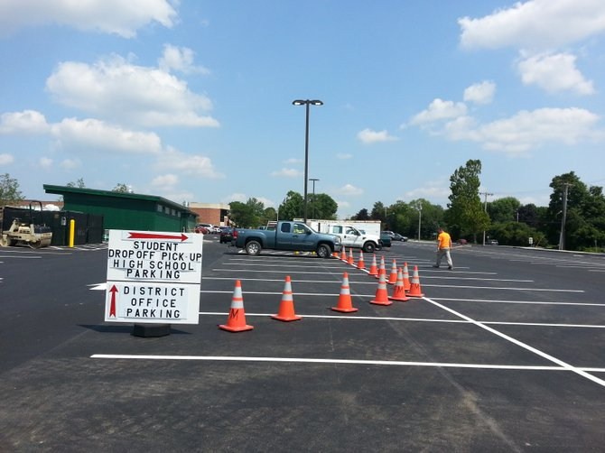 The new F-M district office parking lot will be ready for traffic for the first week of school. The lot has separate sections for district office staff and high school staff and student drop-off.