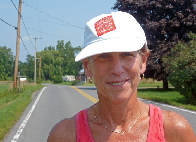 Terry Moskowitz walks 10 miles every other day training for the Boston Marathon Jimmy Fund Walk.