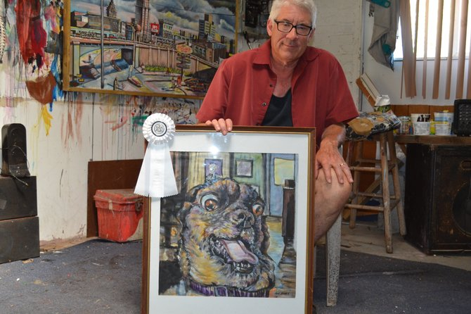 "Ken Burke won third place out of 103 entries in the Fine Art Amateur contest at the State Fair for his painting ""Buster Chops."""