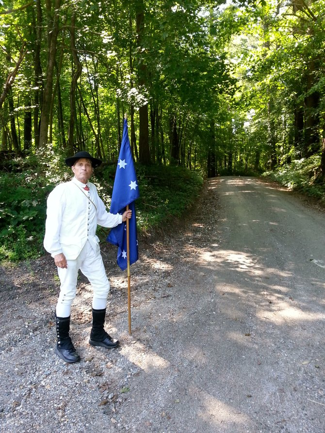 Dave Fagerberg, 64, of Kansas City, has been walking the 300-mile Col. Henry Knox Trail in Revolutionary War garb to promote the historic path.