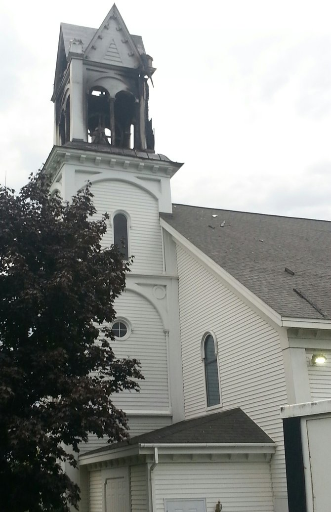 The Ballston Center Reformed Presbyterian Church bell tower was hit by lightning on Wed. Night. The church is on the corner of Charlton and Midline Roads in Ballston.