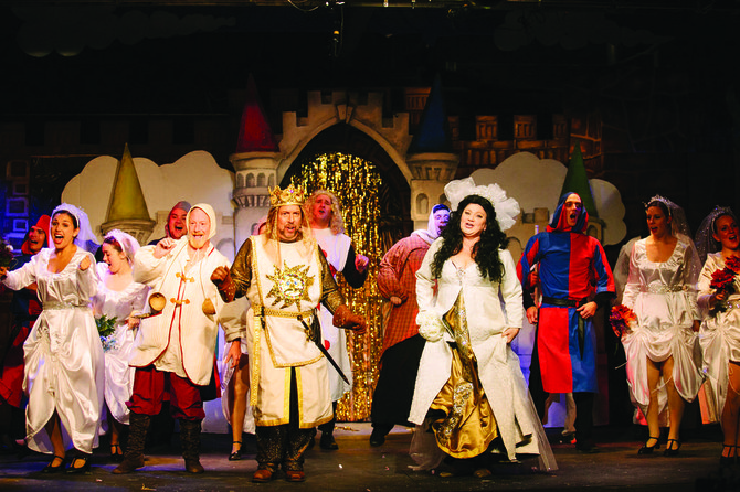 "Bob Brown as King Arthur and Cathleen O'Brien Brown as the Lady of the Lake  top the cast of ""Spamalot,"" running through Sept. 21 at the CNY  Playhouse at ShoppingTown Mall in DeWitt; cnyplayhouse.com."