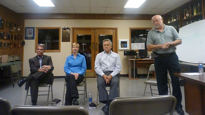 Bethlehem United coalition candidates Fred DiMaggio-R, Linda Jasinski-C, and Dan Cunningham-I, hold a meeting for the public to ask questions on Thursday, Sept. 19 at Selkirk Firehouse No. 2 in Glenmont. The event was hosted by Albany County Legislator Rich Mendick.