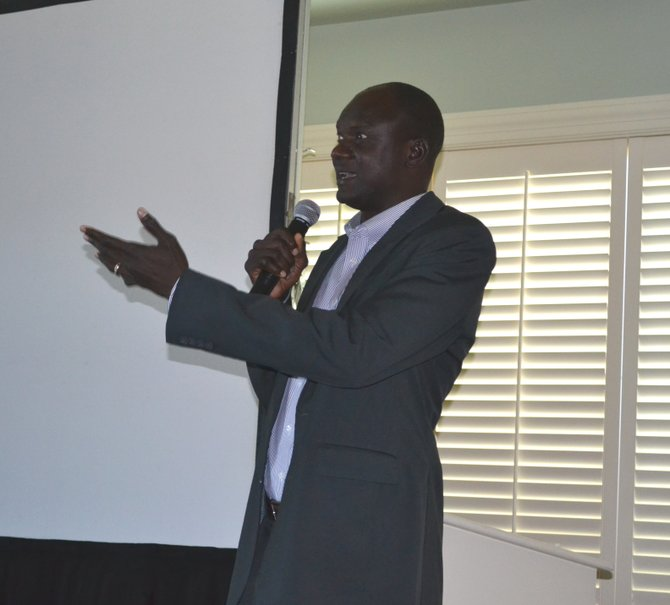 John Dau, Founder of the John Dau Foundation, speaks at a foundation fundraiser at the Skaneateles Country Club on Sept. 29.