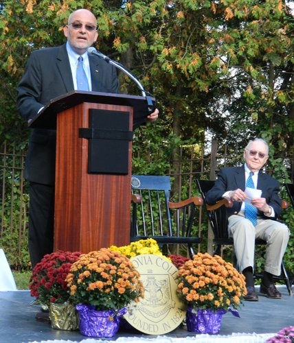 Cazenovia College President Mark Tierno., left, officially named the new Jephson Campus at a ceremony on Sept. 28. Jephson Education Trusts Trustee Bob Taisey, right, thanked the college for the recognition.