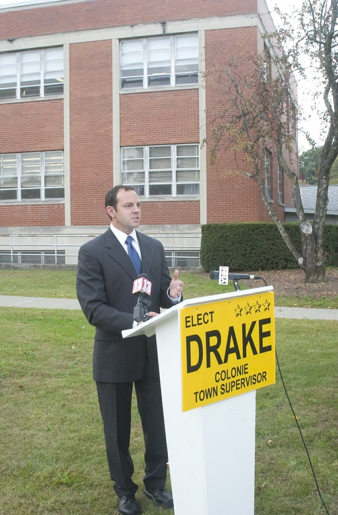 Republican candidate for Colonie own Supervisor Todd Drake held a press event on the lawn of Town Hall Wednesday, Oct. 2, to call for greater transparency in town government.