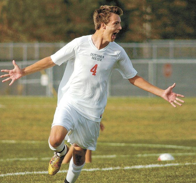 Guilderland's Christopher Czekay celebrates his first-half goal during a 2-1 victory over Suburban Council South Division rival Bethlehem Oct. 3.