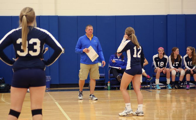 Cazenovia girls volleyball coach Brian Ellithorpe, seen here giving instructions to Madison Gabor (12), won his 300th career match Wednesday night when the Lakers swept Bishop Ludden. Of those wins, 260 of them have come with the Lakers, with the other 40 attained at Morrisville-Eaton.