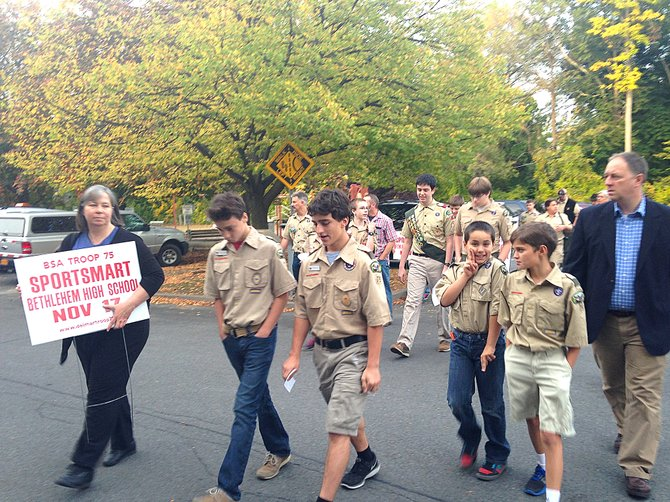 Boy Scouts from Bethlehem Troop 75 spoke out against the town's temporary sign law on Wednesday, Oct. 9 at Town Hall. The troop said they believe profits from their annual fundraiser went down 15 percent last year because they lost prime advertising space.