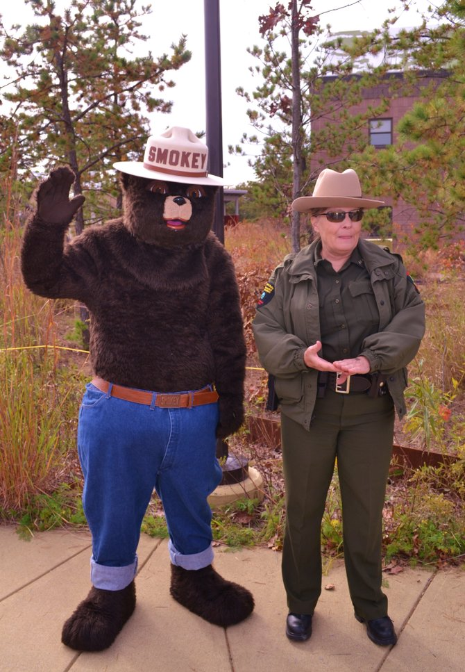 Smokey Bear and forest ranger Karen Glesmann at the Pine Bush Preserve on Monday, Oct. 14.