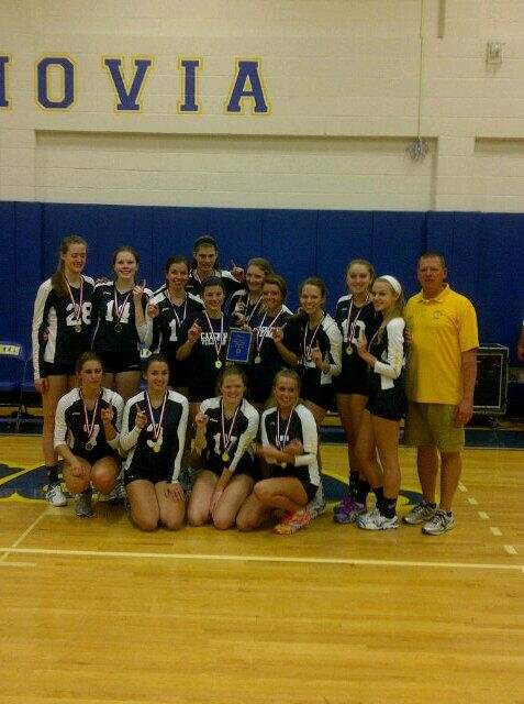 Cazenovia's girls volleyball team won the Onondaga High School League tournament Saturday afternoon at Buckley Gym, rallying to defeat Homer in three sets 24-26, 25-19, 15-10 in the championship round.