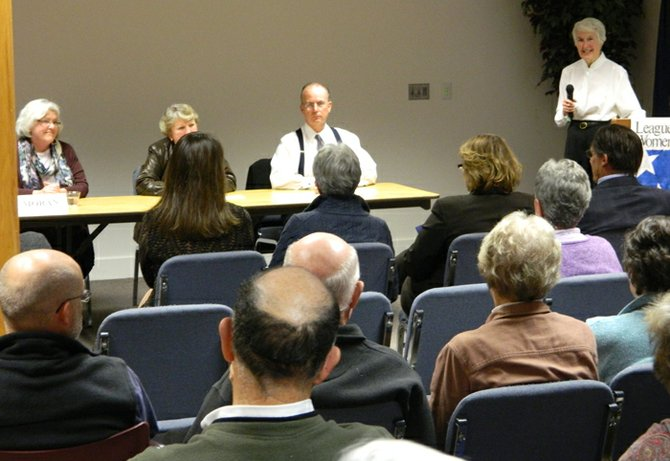 From right, League of Women Voters Chairperson Anne Redfern leads the current Cazenovia Supervisor Ralph Monforte, Clerk Linda Mather and Councilor Liz Moran in a panel discussion on the two ballot proposals for town residents seeking approval to extend the supervisor position to a four-year term from its current two-year term, and to change the town clerk from an elected to an appointed position.