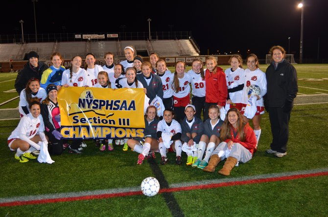 Jamesville-DeWitt's girls soccer team won its fifth consecutive Section III Class A championship Saturday night at SUNY-Cortland when it defeated East Syracuse-Minoa 1-0 in three overtimes, prevailing on Paige Sherling's goal at the end of the third OT. The Red Rams will face Burnt Hills-Ballston Lake in Tuesday's regional playoff game.