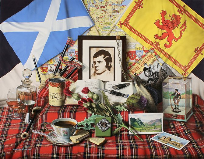 "Royal Scotland is one painting on display at the Cazenovia Public Library Art Gallery. It is a large still life (31"" x 39"") of objects that are Scottish. It will be on display in the exhibit and prints of the painting are available."
