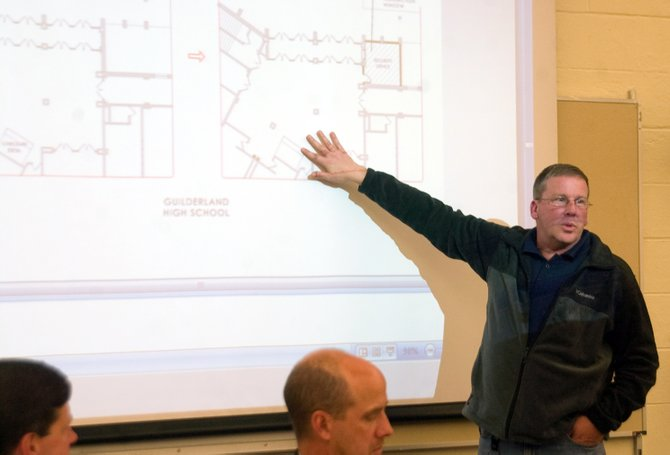 Guilderland schools Buildings and Grounds Supervisor Clifford Nooney on Tuesday, Oct. 29, discusses safety improvements included in the district's proposed building project referendums.