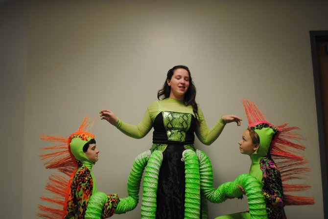 Ursula, the sea witch, and her eels, Flotsam and Jetsom  are played by middle school students, Morgan Galvin, Daniel Curren and Katie Bablin.