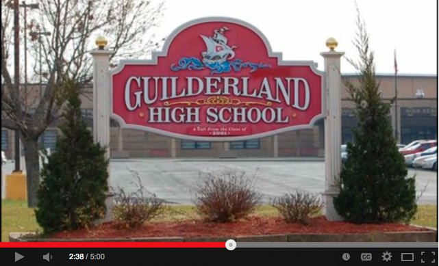 """A screen capture of the video posted to YouTube on Monday, Nov. 11, which included a rap song naming several Guilderland High School students. The video, which school officials called """"cyberbullying,""""  has been removed from the website."""
