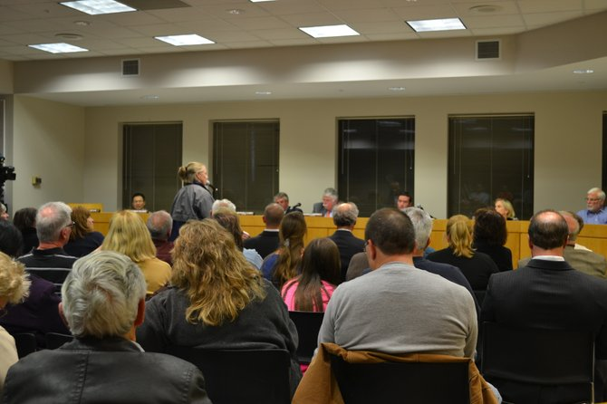Colonie residents voiced their opinions on a proposed sports complex next to Memory Gardens at a Thursday, Nov. 12, planning board meeting.