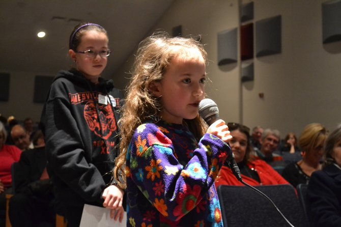 "Cora Gilbert, a student in the Jamesville-DeWitt School District, was the youngest audience member to speak to King. ""I don't like that students have to take tests at the beginning of the year with stuff on them that we know nothing about,"" she said. ""It's frustrating and it makes us feel stupid."""