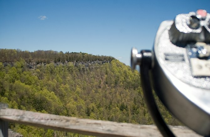 An overlook of John Boyd Thacher State Park in May 2013.
