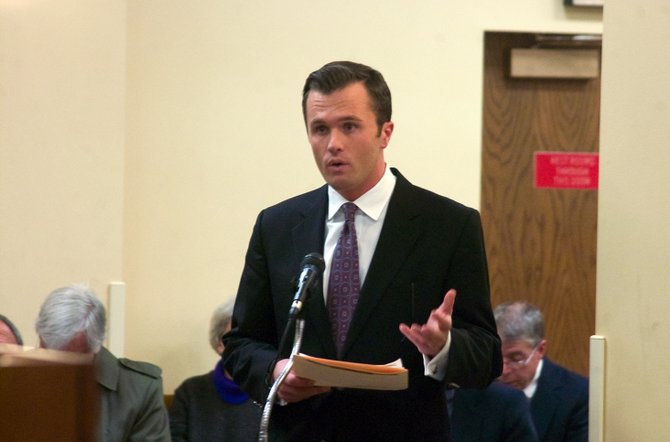 Nick Vaugh, spokesman for the Albany-Colonie Regional Chamber of Commerce, speaks against the county's proposed Food Service Waste Reduction Act during a public hearing held by County Executive Dan McCoy on Monday, Dec 2.